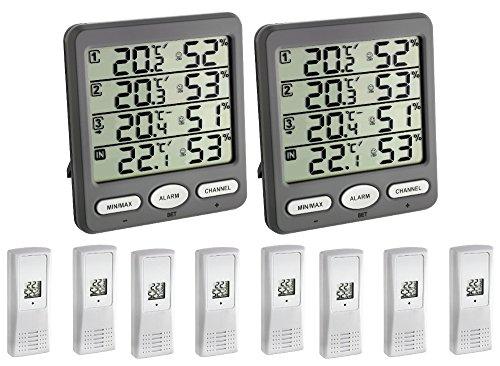 Wetterladen TFA-Dostmann Klima Monitor MEGA TFA 30.3054 Mega 2 Display + 8 Sender Temperatur Luftfeuchte Funk Station (anthrazit 30.3054.10)