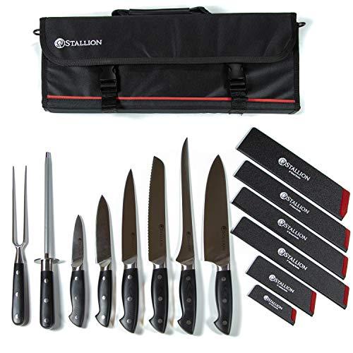 Stallion Professional Messer - bestückte Messertasche mit sechs Messern, Wetzstahl und Fleischgabel - Klingen aus deutschem 1.4116 Messerstahl und Griff aus G10 GFK -