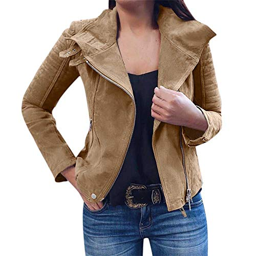 (JUTOO Damen Damen Retro Rivet Zipper Up Bomber Jacke Casual Mantel Outwear(Khaki,Small))