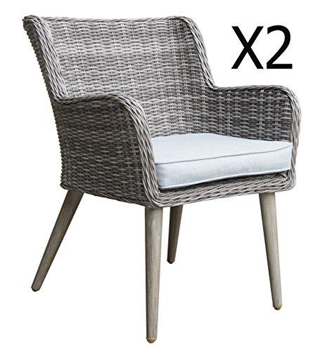 Lot de 2 fauteuils de jardin en aluminium/ résine tressé - Dim : 70 x 60 x 85cm -PEGANE-