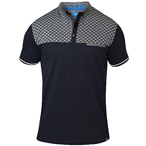 Duke Herren D555 Groß Hoch King-size Maurice Pique Polo Klassisches Hemd Navy - Blue