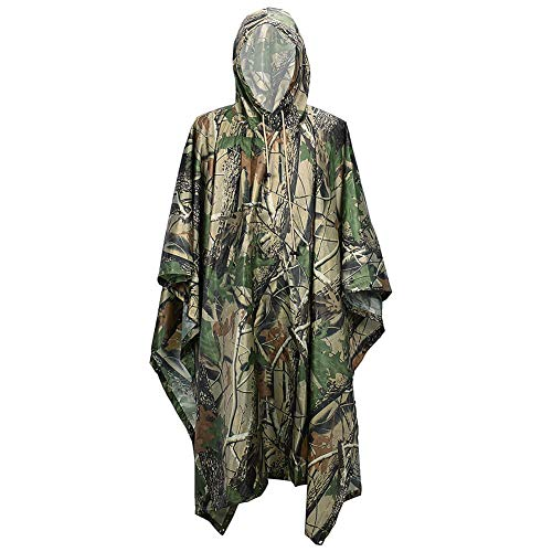 Leichter Regenponcho mit Kapuze – Wasserdicht Atmungsaktiv Multifunktion – Unisex Regenmantel für Freizeit Jagd Angeln Camping – Camouflage Regenjacke Tarnmantel (Maple Camo)