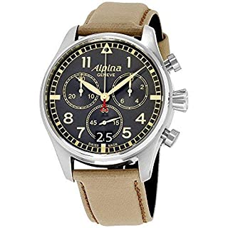Alpina Men's Startimer 44mm Leather Band Steel Case Quartz Watch AL-372BBGR4S6