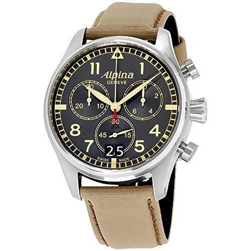 Alpina da uomo Startimer 44mm Leather Band Steel case Quartz Watch...