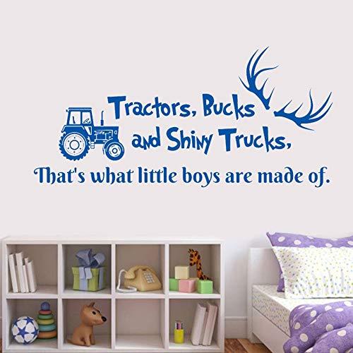 haochenli188 Wandtattoo Zitat Traktoren Dollar und Shiny Trucks Hirschgeweih Auto Dumper Vinyl Aufkleber Kindergarten Jungen Schlafzimmer Deco 57x27cm
