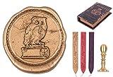gravurART - Siegel-Set Hamlet, Mini-Siegel-Stempel mit Gravur Bücher-Eule