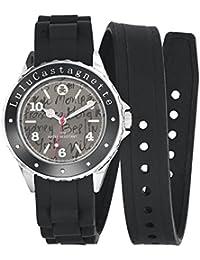 Lulu Castagnette - 38744 - Montre Femme - Quartz Analogique - Cadran Noir - Bracelet Silicone Noir