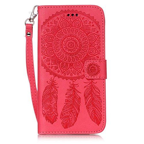 iPhone 7Plus custodia a portafoglio, Ledowp Apple iPhone 7Plus Premium custodia a portafoglio in pelle PU, Full Body campanula modello design magnetico staccabile in pelle portafoglio Flip Cover per Red