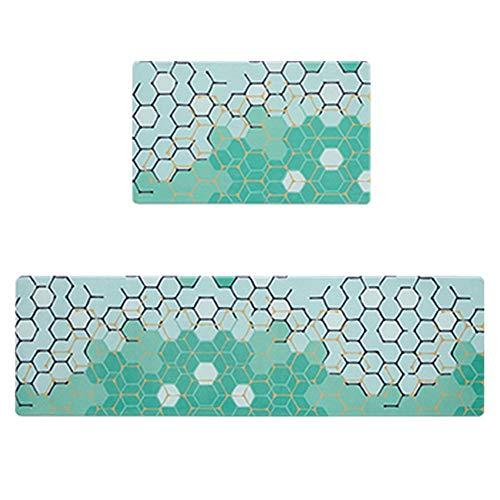 DEI QI Küche matte pvc matte küche teppich set massage matten für küche cartoon gedruckt einfache reinigung 2 größen wasserdicht (Farbe : C (45x75cm+45x150cm))