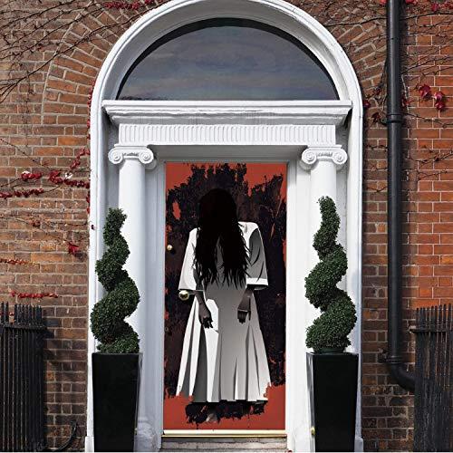 libby-nice Lange Haare Frau Geist 3D Türaufkleber Abnehmbare Wasserdichte Scary Effekt Halloween Wandkunst Aufkleber Gute Quality77X200Cm