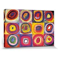 1art1® Vassili Kandinsky - Estudio del Color, Cuadrados con Círculos Concentrados, 1913 Cuadro, Lienzo Montado Sobre Bastidor (120 x 80cm)
