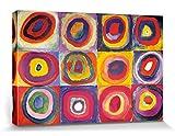 1art1 Wassily Kandinsky - Studio sul Colore, Quadrati con Cerchi Concentrici, 1913 Stampa su Tela (120 x 80cm)