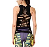 Fashion Damen Sport T-Shirt Tank Top Sport-Oberteil Yoga Fitness schwarz