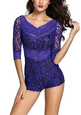 SunIfSnow Women Sexy Three Quarter Flower Lace Overlay Romper Playsuit Slim Bodysuit (blue,XL)