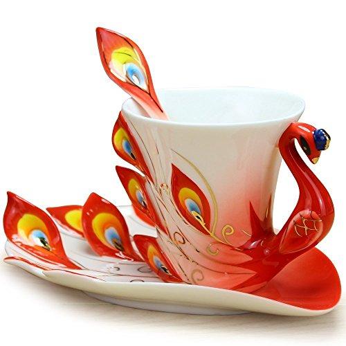 Cozyswan Articoli da regalo Artware della porcellana della tazza di tè con piattino tazza di caffè personali 1 tazza 1 piattino 1 cucchiaio di pavone Verde (Rosso)