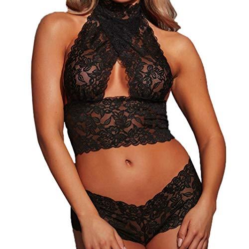 MERICAL Frauen Sexy Dessous Spitze Unterwäsche Nachtwäsche Nachtwäsche Bodysuit Versuchung(Schwarz,M)