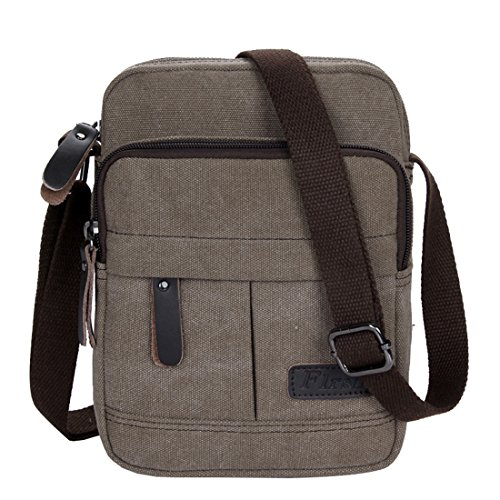 Super modernes Herren und Damen kleine Vintage Canvas Umhängetasche Messenger Bag Cross-Body-Tasche Organizer Multi Taschen Schultertasche coffee
