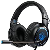 [Sades R5 Gaming Headset ] 3.5mm Wired Over Ear Bass Stereo Gaming Headphones with Mic & Noise Cancelling & Volume Control for New Xbox One / PC / Mac/ PS4/ Table/ Phone (Black&Blue)