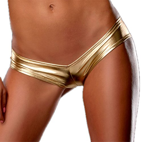 YouYaYaZ Damen Lackleder Hotpants V-Strings Slips Hipsters Unterwäsche(Gold,XL)