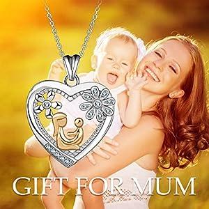 Collana da Donna in Argento Sterling 925 Ali d' angelo Mama Halt Baby Golden Bicolore Ciondolo 46 cm Catena Madre Figlia Gioielli Regalo da AEONSLOVE