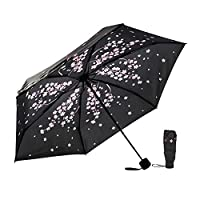 Ke.movan Travel Compact Umbrella Windproof Mini Sun & Rain Umbrella Ultra Light Parasol - Fits Men & Women, Gift Choice (273-Sakura)