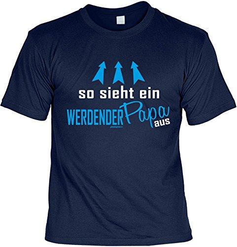 Vatertags T-Shirt - So sieht ein werdender Papa aus - cooles Shirt mit lustigem Spruch als Geschenk für Väter mit Humor Navyblau
