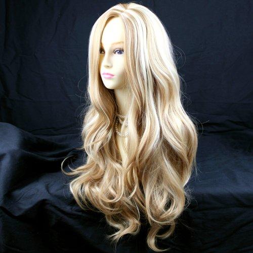 Lady Blonde Perücke (Fantastische lang gewellt Lady Perücke Honig Blonde)