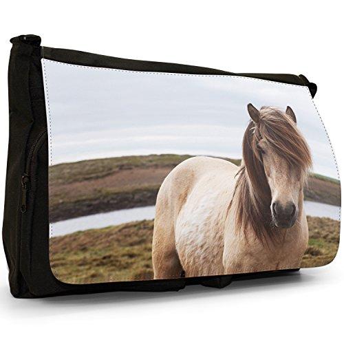 Fancy A Bag Borsa Messenger nero Grey Horses Face Dirty White Horse