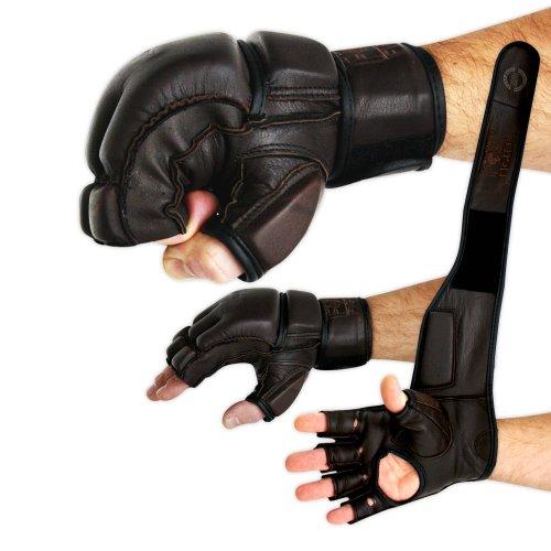 FOX-FIGHT Legend MMA Handschuhe professionelle hochwertige Qualität echtes Leder Boxhandschuhe Sandsack Training Grappling Sparring Kickbox Freefight Kampfsport BJJ Gloves braun, XL