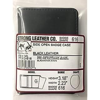 ASR Federal 100% Genuine Leather Universal Private Investigator Imprinted Oblong Badge Holder Wallet Case Black