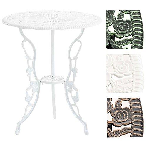 CLP Tisch SHARMA, Gartentisch rund Durchmesser Ø 60 cm, Höhe 68 cm, Metall, Eisentisch, nostalgisches Design, handgefertigt, Weiß