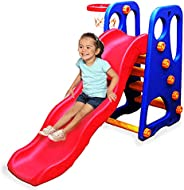 Webby Foldable Wavy Garden Slide with Adjustable Height & Basketball Ring for