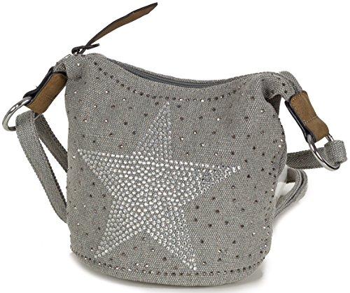 L & S Collection Stern Handtaschen Damen - kleine Umhängetasche - Mini Stern Tasche aus Canvas Grau (Hellgrau)