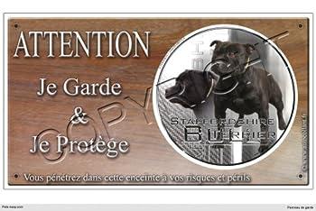 Panneau chien ou plaque Staffordshire-Bull-Terrier-noir 20 cm