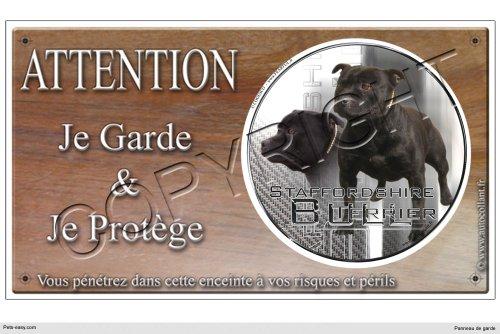Pets-Easy.com Panneau chien ou plaque Staffordshire-Bull-Terrier-noir 20 cm