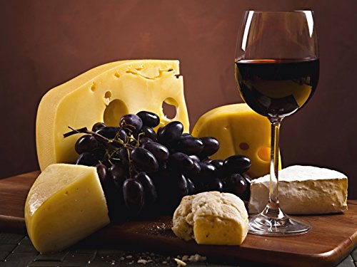 lder I Bild auf Leinwand Leinwandbilder Wandbilder 80 x 60 cm Ernährung Genuss Lebensmittel Foto Bordeauxrot D7RS Käse Stillleben ()