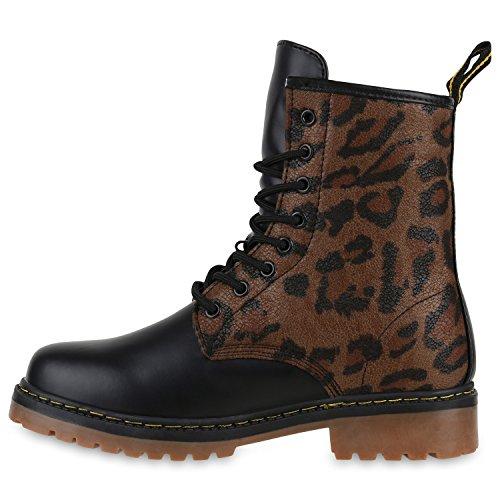 Derbe Damen Stiefeletten | Worker Boots Profilsohle| Camouflage Stiefel | Schnürschuhe Animal Print Leopard Braun