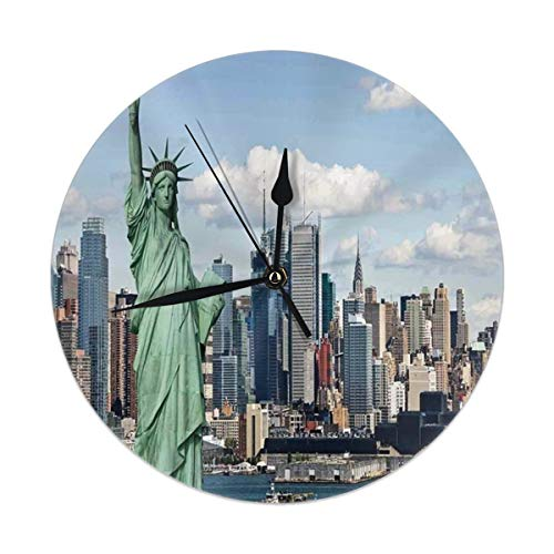 best gift Wall Clock Silent Non Ticking,New York Statue of Liberty In NYC Clock for Home Bedroom Office Diameter 9.84