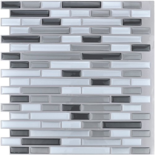Art3d 30cm x 30cm Peel and Stick Tile Kitchen Backsplash Vinyl Wall Stickers, Gray (2 Pack)