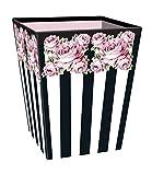 Clairefontaine Chantal Thomass 115351C Papierkorb 27x 27x 32cm Boden Weiß gestreift schwarz/mit Blumenmotiv rosa/grün