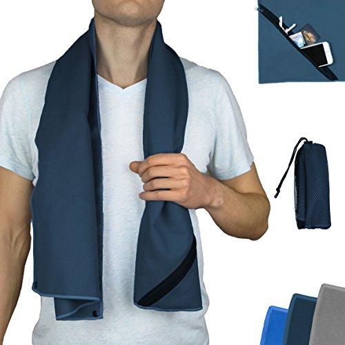 Sport-Handtuch aus Mikrofaser fürs Fitness-Studio ↔ ideale Breite für Geräte ↔ Extra-Fach,...