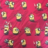 lizenziert von Universal Studios–Rot cromini Minions Neuheit Print Premium Grade 100% Baumwolle feines Gewebe Kinder Vorhang Betten Stoff 142cm breit, Meterware,