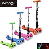 FASCOL® Twist & Roll Patinete scooter plegable para niños con 3 ruedas y PU LED flash ruedas,mini patinetes freestyle scooter in Naranja(2-17 años)