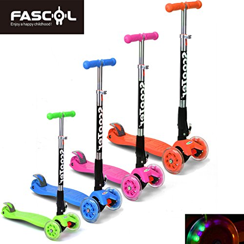 FASCOL Twist & Roll Patinete scooter plegable para niños con 3 ruedas y PU...