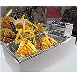MU Haushalt Pommes Frites Cutter, manuelle vertikale Extruder Kartoffelnudelmaschine und elektrische Friteuse Set, geeignet für Gewerbe, Hotel, Shop