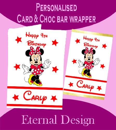 Personalisierte Geburtstagskarte & inkl. passender Schokotafel-Verpackung Minnie Maus 1