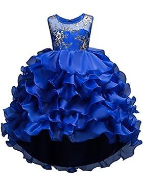 BOBORA Bambine ragazze senza maniche ricamo fiore abiti da sposa Partito Ballo abito