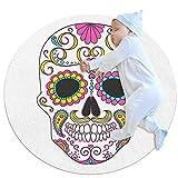 Indimization Cráneo del azúcar Alfombra Redonda decoración Arte Antideslizante niños Lavables a máquin Suave Sala Estar Dormitorio de Juegos para 100x100cm