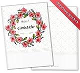 Mutterpasshülle 3-teilig Blumenkranz Schutzhülle tolle Geschenkidee personalisierbar mit Namen (Mutterpass personalisiert, Eisenhut)