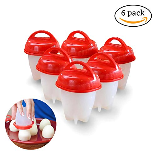 Eierkocher Hard & Soft Maker, hacosoon pochiert gekochten Eiern Dampfgarer, Silikon Eier Maker, keine Schale, nicht-Stick Silikon, BPA-frei, 6Stück